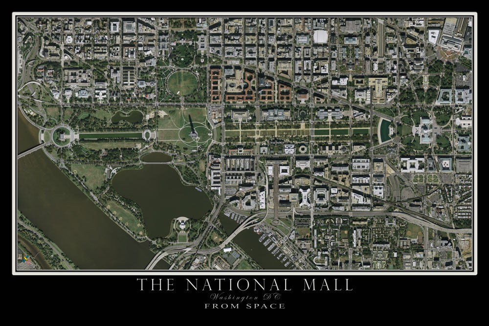 Washington DC The National Mall Satellite Poster Map