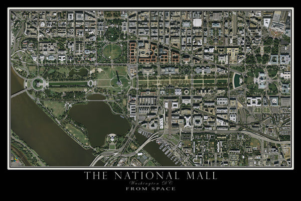 Washington DC - The National Mall From Space Satellite Poster Map by TerraPrints.com. Available in multiple sizes with free shipping in the USA. - 1
