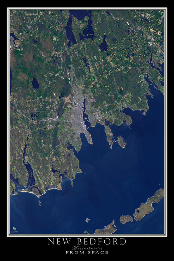 New Bedford Massachusetts From Space Satellite Poster Map - TerraPrints.com