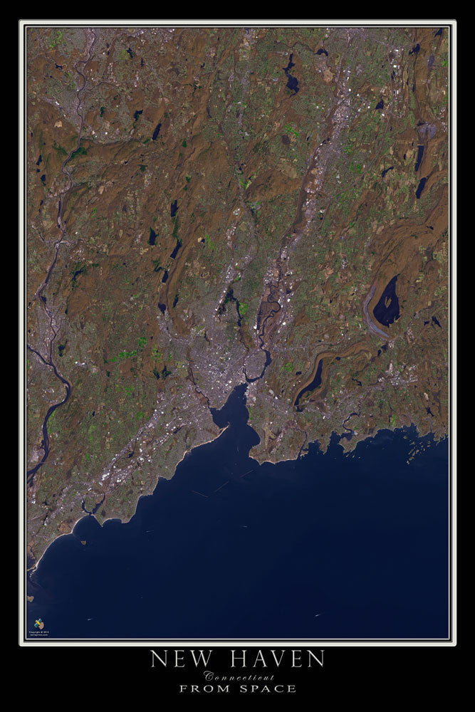 New Haven Connecticut From Space Satellite Poster Map - TerraPrints.com