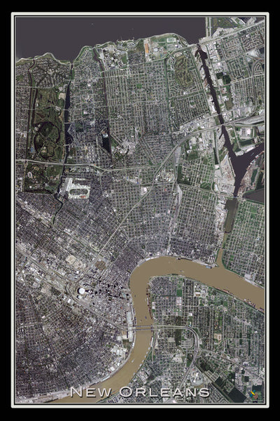 New Orleans Louisiana From Space Satellite Poster Map - TerraPrints.com