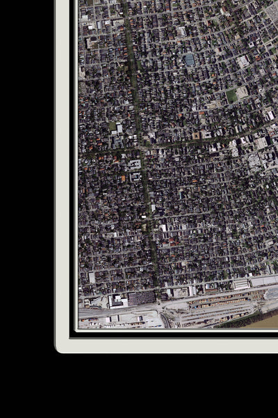 New Orleans Louisiana From Space Satellite Poster Map