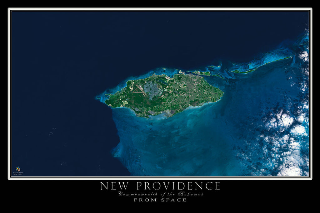 New Providence Island Bahamas Satellite Map TerraPrintscom