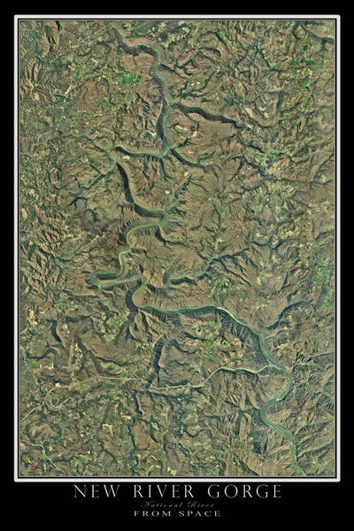 New River Gorge National River West Virginia Satellite Poster Map - TerraPrints.com