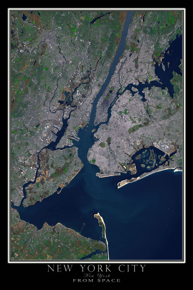 New York City From Space Satellite Poster Map - TerraPrints.com