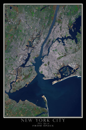 New York City Satellite Poster Map - TerraPrints.com
