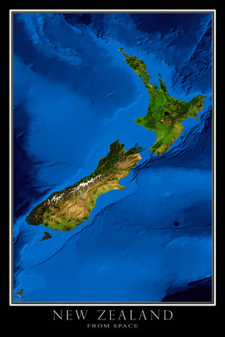 New Zealand Satellite and Bathymetry Composite Poster Map - TerraPrints.com
