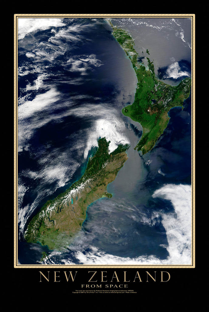 New Zealand Modis From Space Satellite Poster Map by TerraPrints.com. Available in multiple sizes with free shipping in the USA.