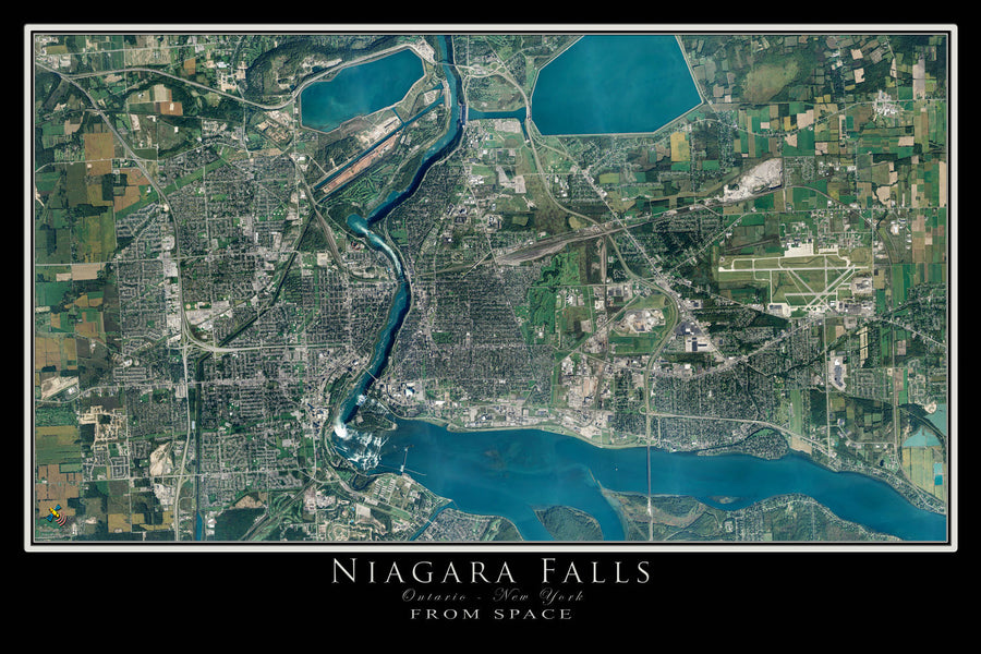 Niagara Falls New York - Ontario Satellite Poster Map by TerraPrints.com. Available in multiple sizes with free shipping in the USA.