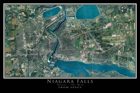 Niagara Falls New York - Ontario From Space Satellite Poster Map by TerraPrints.com. Available in multiple sizes with free shipping in the USA.