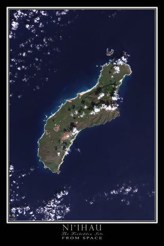 Niihau Island Hawaii From Space Satellite Poster Map by TerraPrints.com. Available in multiple sizes with free shipping in the USA.