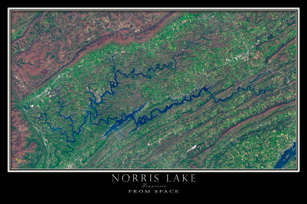 Norris Lake Tennessee From Space Satellite Poster Map - TerraPrints.com