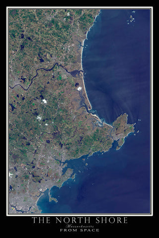 The North Shore of Massachusetts From Space Satellite Poster Map by TerraPrints.com. Available in multiple sizes with free shipping in the USA.