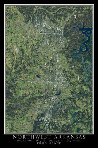 Northwest Arkansas From Space Satellite Poster Map by TerraPrints.com. Available in multiple sizes with free shipping in the USA.