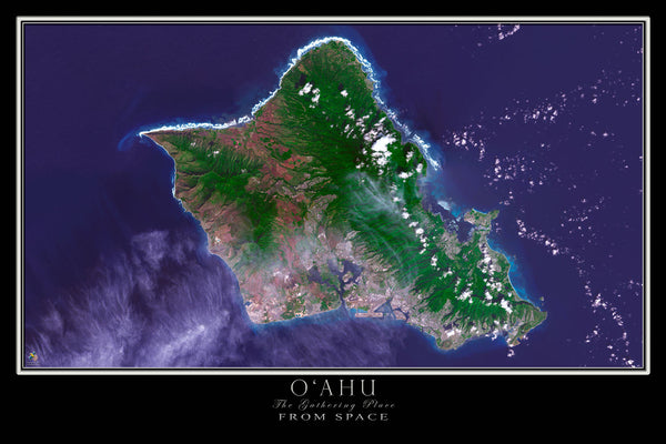 oahu island hawaii from space satellite poster map free