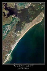 The Ocean City New Jersey Satellite Poster Map