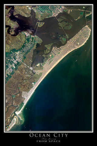 Ocean City New Jersey Satellite Poster Map
