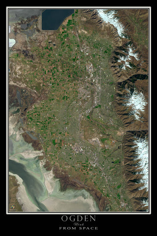 Ogden Utah From Space Satellite Poster Map - TerraPrints.com