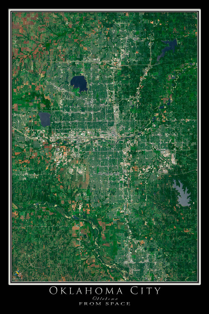 Oklahoma City Oklahoma Satellite Poster Map - TerraPrints.com