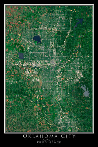 Oklahoma City Oklahoma From Space Satellite Poster Map - TerraPrints.com