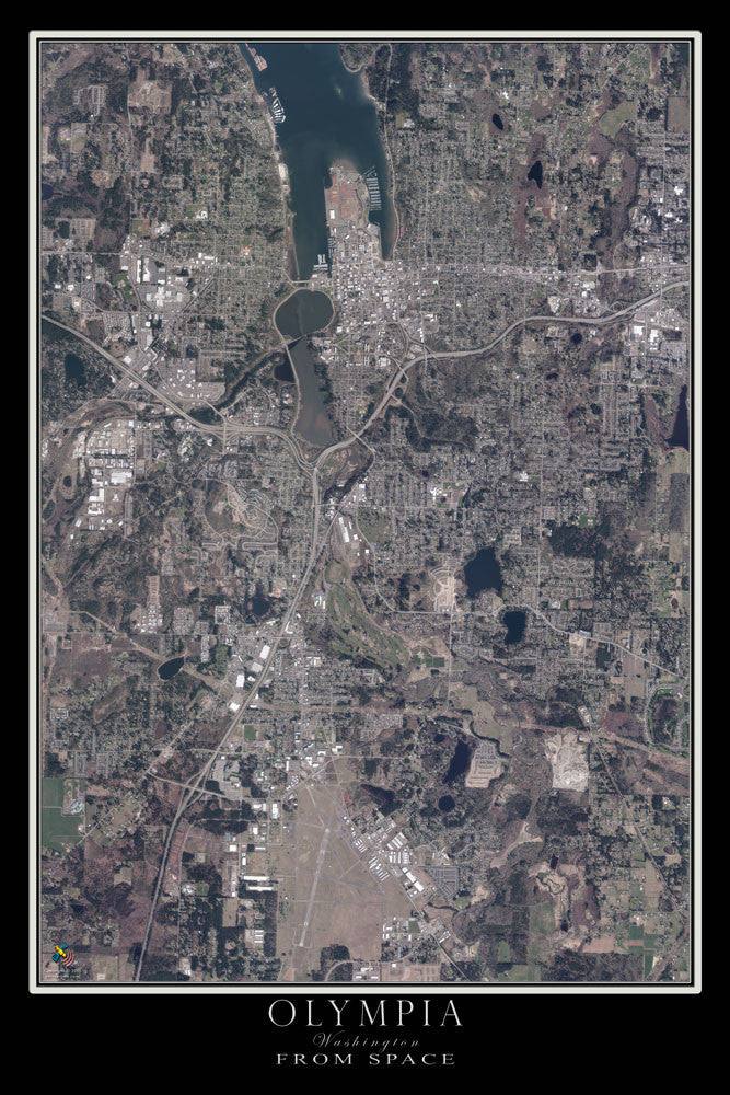 Olympia Washington From Space Satellite Poster Map by TerraPrints.com. Available in multiple sizes with free shipping in the USA.