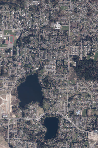 Olympia Washington From Space Satellite Poster Map