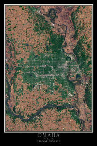 Omaha Nebraska From Space Satellite Poster Map by TerraPrints.com. Available in multiple sizes with free shipping in the USA.