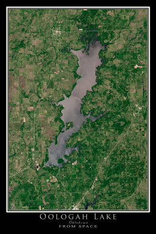 Oogolah Lake Oklahoma From Space Satellite Poster Map by TerraPrints.com. Available in multiple sizes with free shipping in the USA.