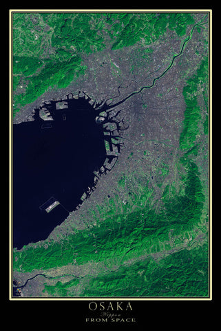 Osaka Japan From Space Satellite Poster Map - TerraPrints.com