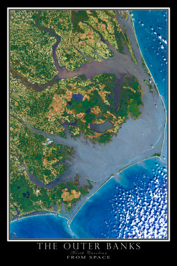 The Outer Banks North Carolina Satellite Poster Map