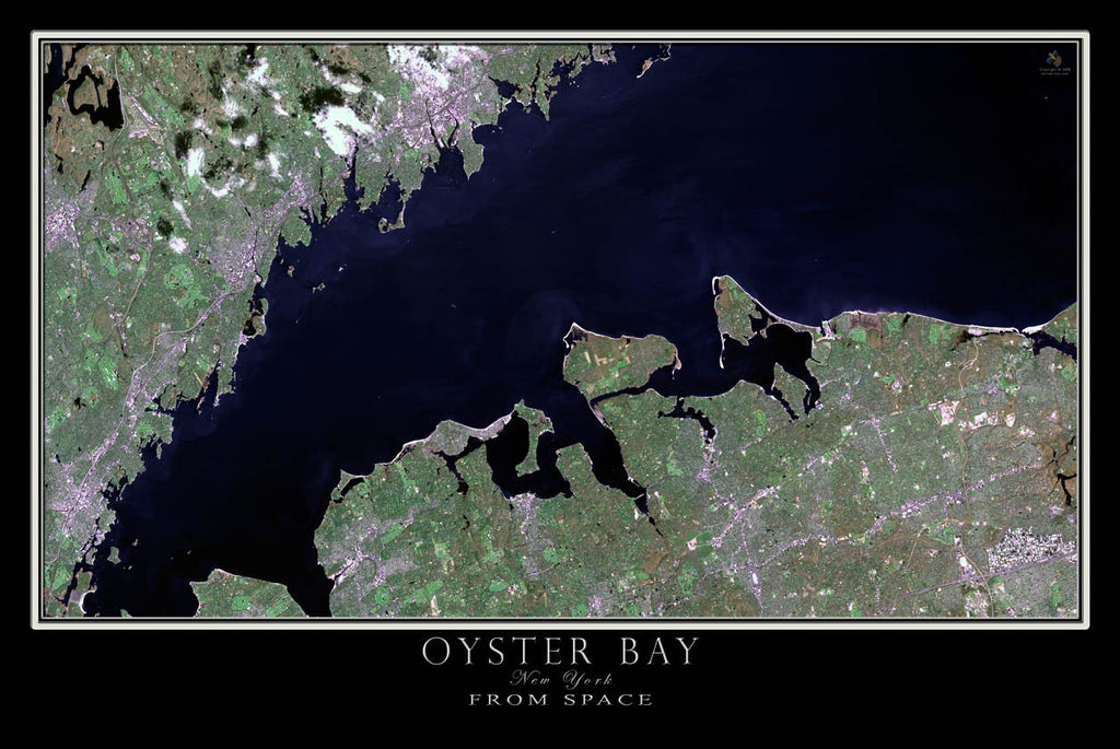 Oyster Bay New York From Space Satellite Poster Map by TerraPrints.com. Available in multiple sizes with free shipping in the USA.