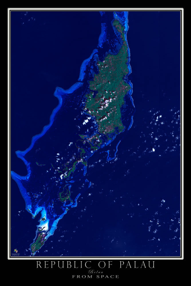 Republic Of Palau From Space Satellite Poster Map - TerraPrints.com