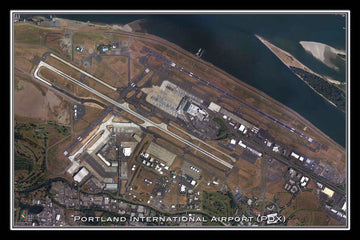 The Portland Intl Airport Oregon Satellite Poster Map