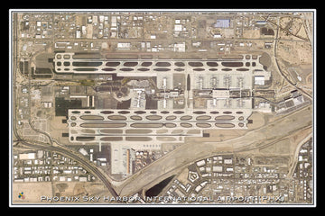 The Phoenix Sky Harbor Intl Airport Arizona Satellite Poster Map
