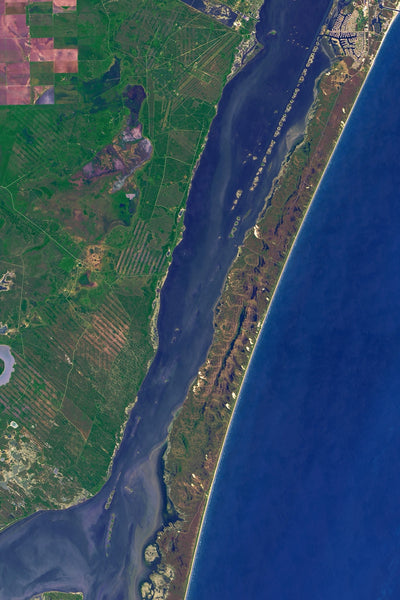 Padre Island National Seashore Texas From Space Satellite Poster Map