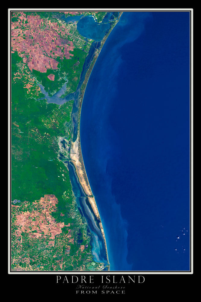 Padre Island National Seashore Texas From Space Satellite Poster Map - TerraPrints.com