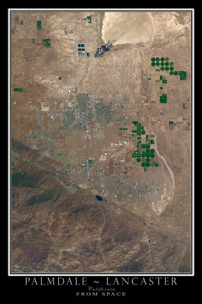 Palmdale Lancaster California Satellite Poster Map by TerraPrints.com. Available in multiple sizes with free shipping in the USA.