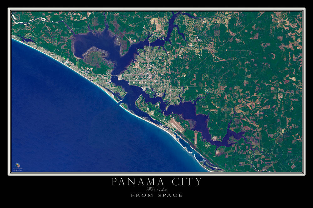 Panama City Florida From Space Satellite Poster Map by TerraPrints.com. Available in multiple sizes with free shipping in the USA.