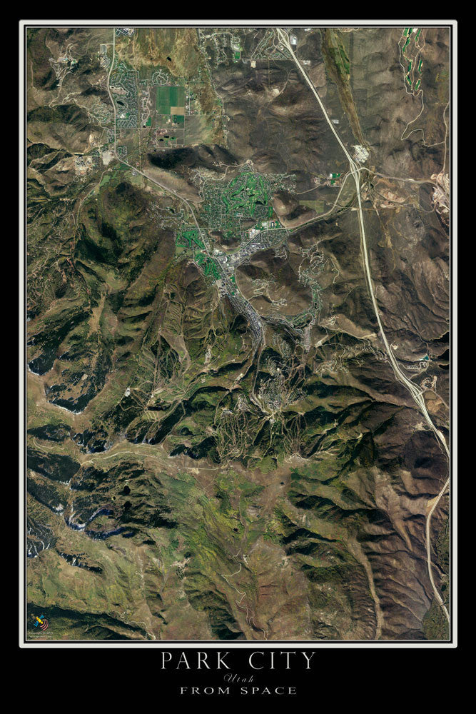 Park City Utah From Space Satellite Poster Map by TerraPrints.com. Available in multiple sizes with free shipping in the USA.