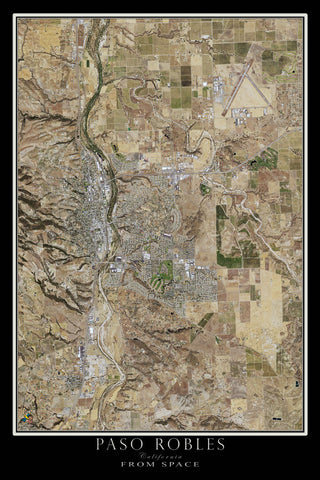 Paso Robles California From Space Satellite Poster Map