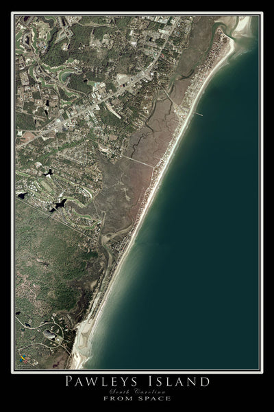 Pawleys Island South Carolina From Space Satellite Poster Map by TerraPrints.com. Available in multiple sizes with free shipping in the USA.