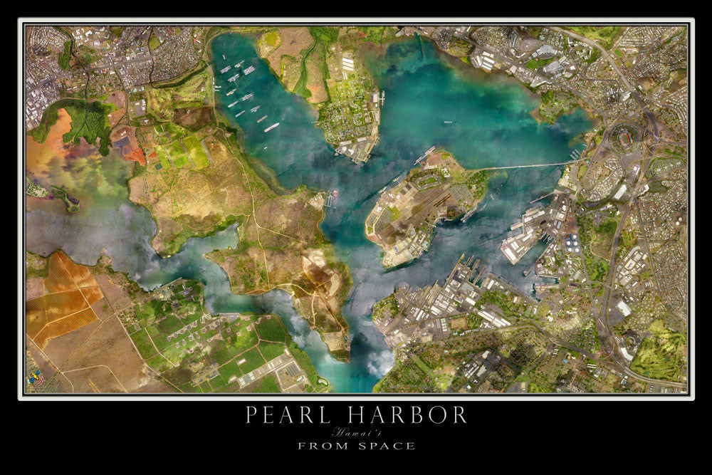 Pearl Harbor Hawaii From Space Satellite Poster Map - TerraPrints.com