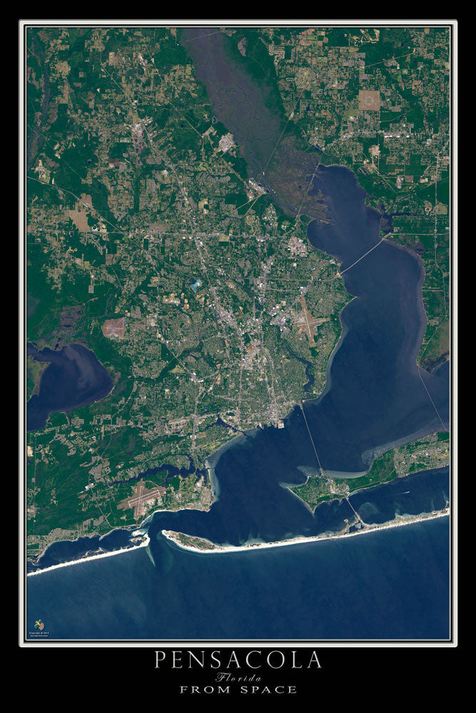 Pensacola Florida From Space Satellite Poster Map - TerraPrints.com