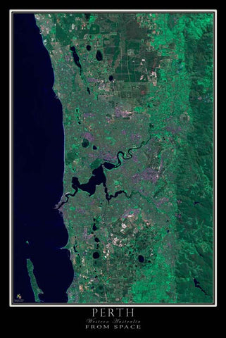 Perth Western Australia From Space Satellite Poster Map - TerraPrints.com