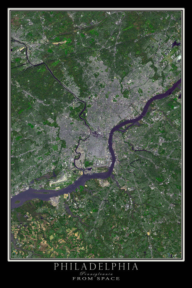 Philadelphia Pennsylvania From Space Satellite Poster Map by TerraPrints.com. Available in multiple sizes with free shipping in the USA.