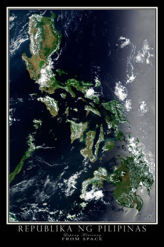 Republic of the Philippines From Space Satellite Poster Map by TerraPrints.com. Available in multiple sizes with free shipping in the USA.