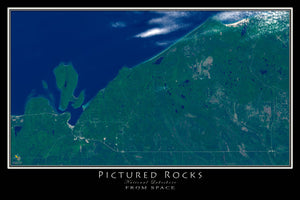 Pictured Rocks National Lakeshore Michigan Satellite Poster Map - TerraPrints.com