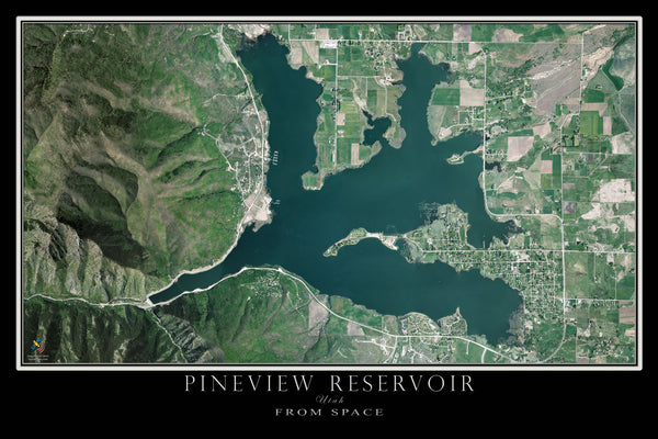 Pineview Reservoir - Huntsville Utah Satellite Poster Map - TerraPrints.com