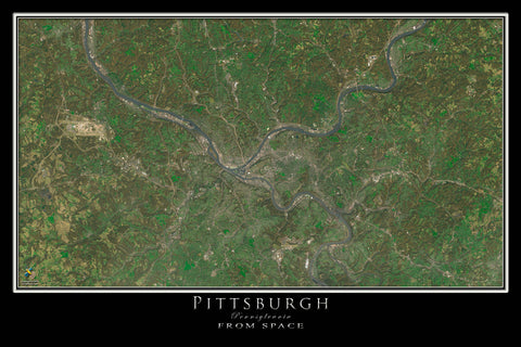Pittsburgh Pennsylvania From Space Satellite Poster Map by TerraPrints.com. Available in multiple sizes with free shipping in the USA.