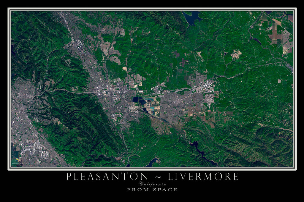 Pleasanton - Livermore California From Space Satellite Poster Map - TerraPrints.com